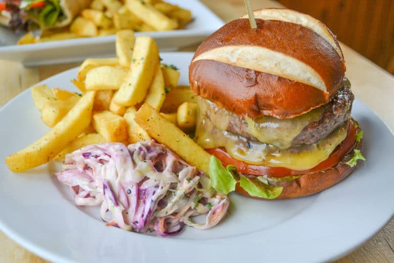 burger and fries on plate best places to eat edinburgh penguin and pia
