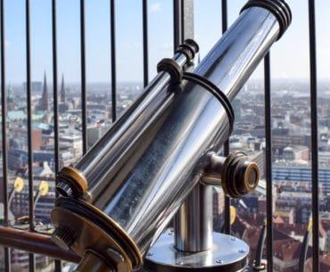 telescope looking over hamburg city
