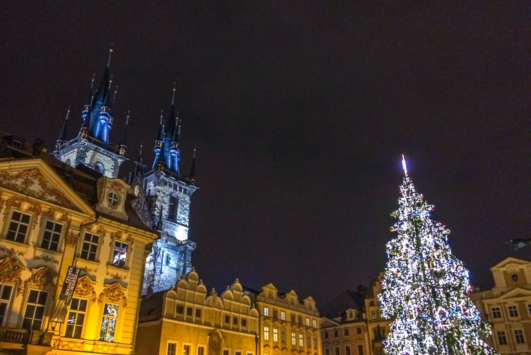 church and christmas tree at night things to do in prague