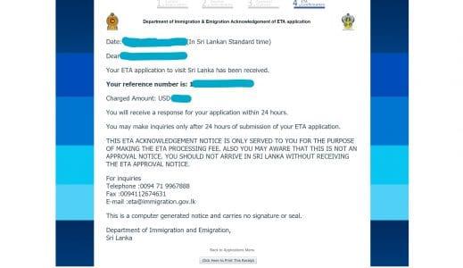 screenshot of sri lanka eta application confirmation