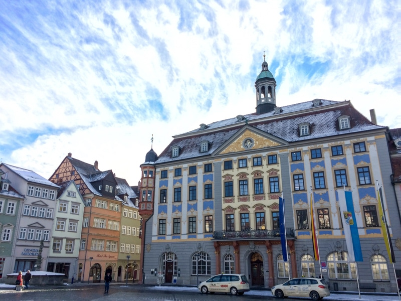 blue building in german town square