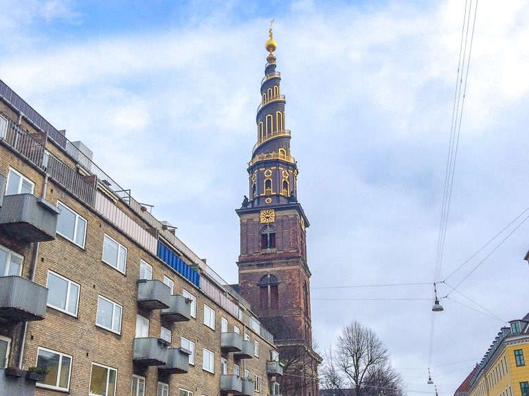 gold and brick spiral church tower copenhagen