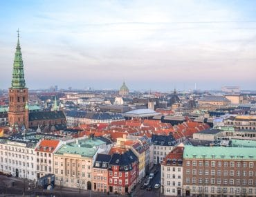 colourful buildings across city scape from vantage point above copenhagen attractions