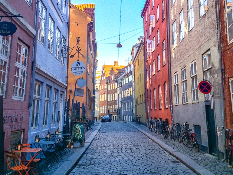 colourful buildings with cobblestone street in copenhagen denmark