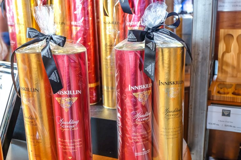 bottles of ice wine in packaging with bows at inniskillin