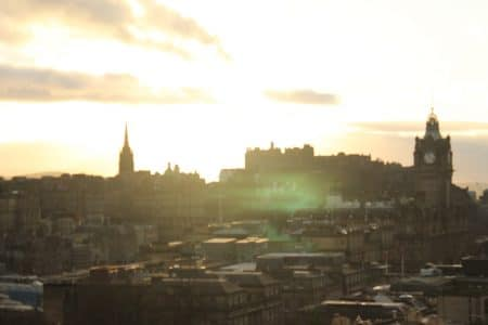 edinburgh cityview with setting sun