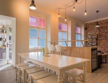 white kitchen tale in hostel in prague