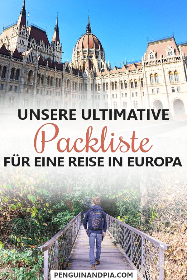 Packliste für eine Reise in Europa