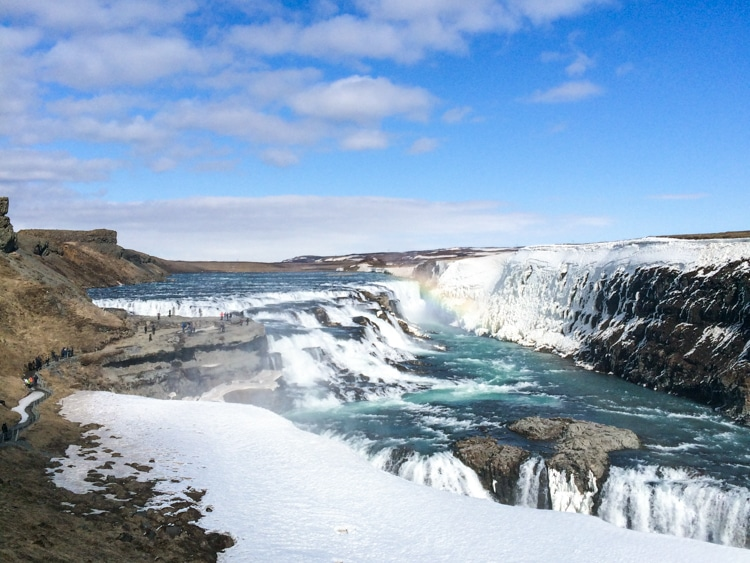 icelandic waterfall with blue sky europe trip itinerary