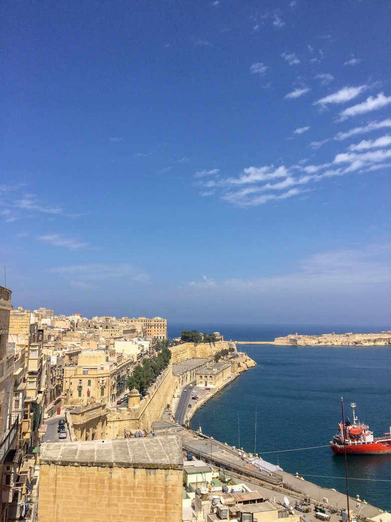 blue water and harbour from valletta malta