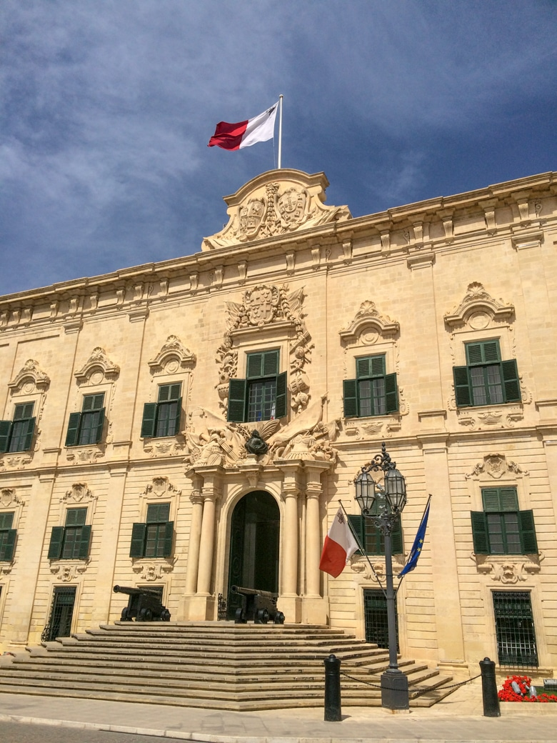 Auberge Castille with malta flag on top