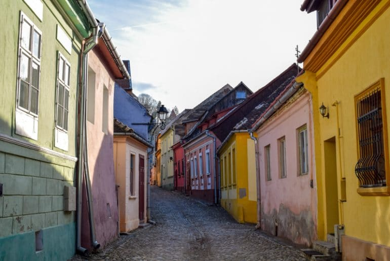 colourful houses sighisoara romania