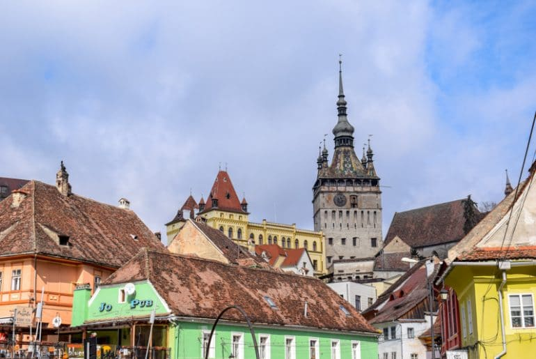 sighisoara tower with houses below