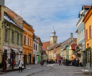 colourful old town buildings brasov romania