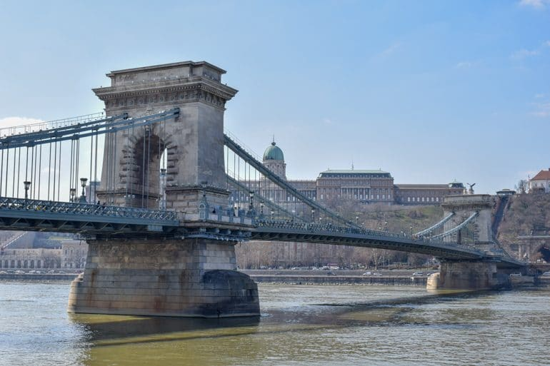 chain bridge over danube river budapest