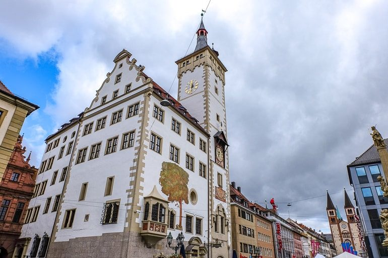 white german town hall with tower in wurzburg germany