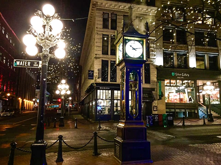 lamp with clock on sidewalk in vancouver itinerary