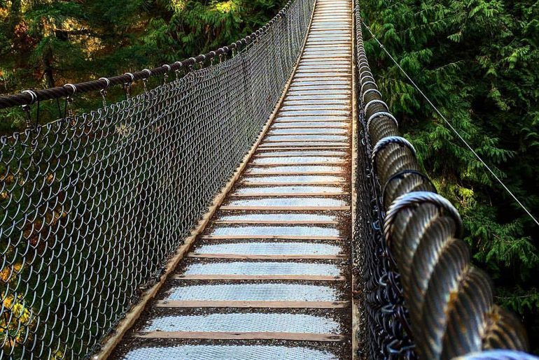 rope and wood bridge over green canyon vancouver itinerary