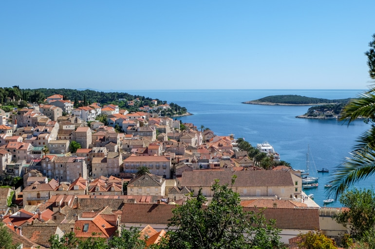 orange clay rooftops in hvar croatia island hopping