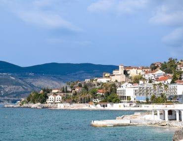 seaside town with blue water in herceg novi montenegro