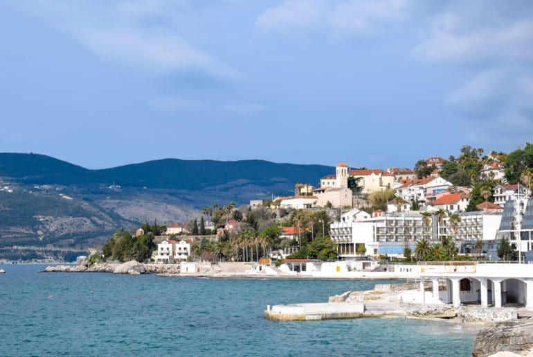 seaside town with blue water in herceg novi montenegro