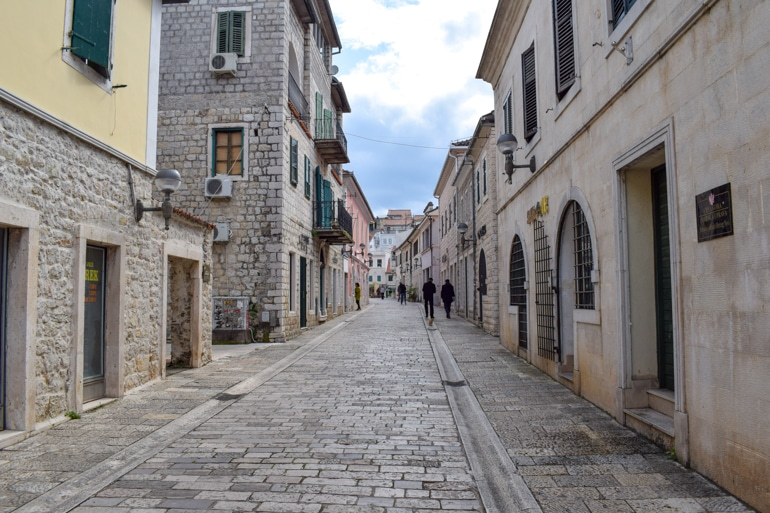 smooth stone walkway in old town herceg novi montenegro