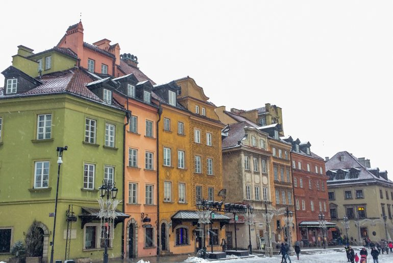 colourful old town buildings of krakow poland