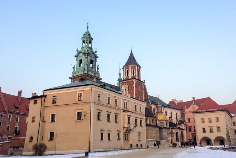 wawel colourful castle in poland with blue sky