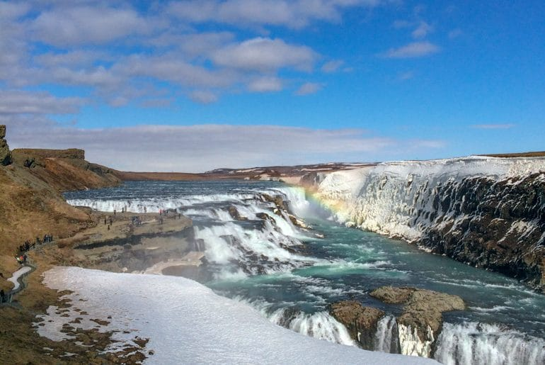 gullfoss waterfall and blue sky in iceland planning a trip to iceland