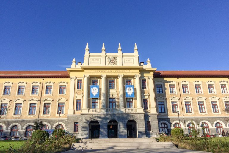 university building in spain with blue sky during study abroad