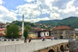 bridge and mosque with blue sky things to do in sarajevo
