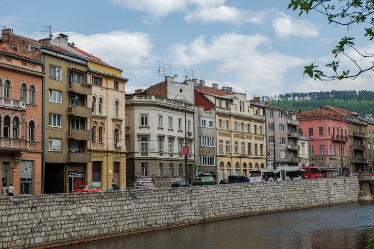 austrian hungarian architecture in sarajevo by the river