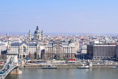 chain bridge and white historic buildings on river bank in budapest best areas to stay