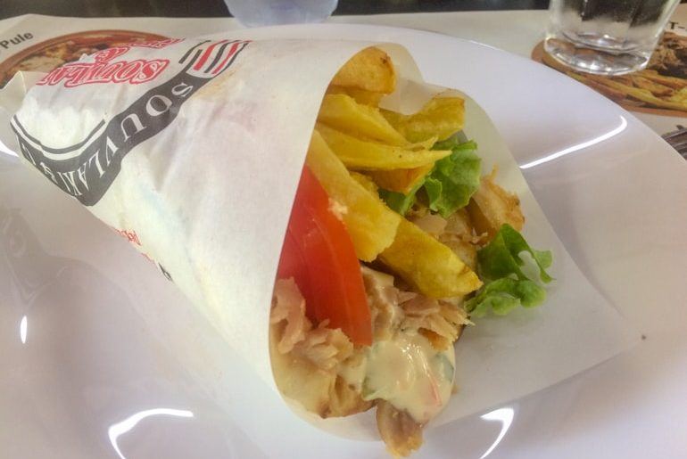 greek gyro with fries and veggies rolled up places to visit in tirana