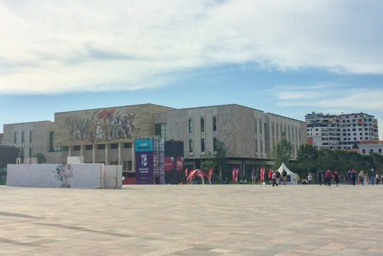 open square with museum behind places to visit in tirana
