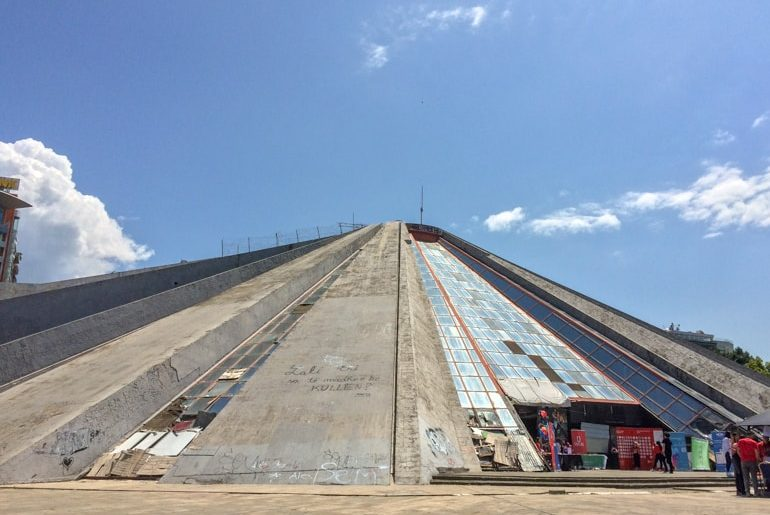 concrete pyramid with graffiti places to visit in tirana