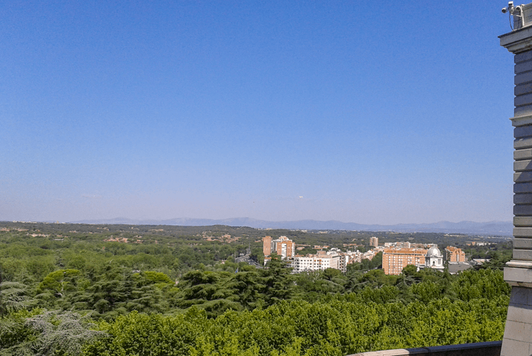 blue sky and green trees in madrid from palace things to do