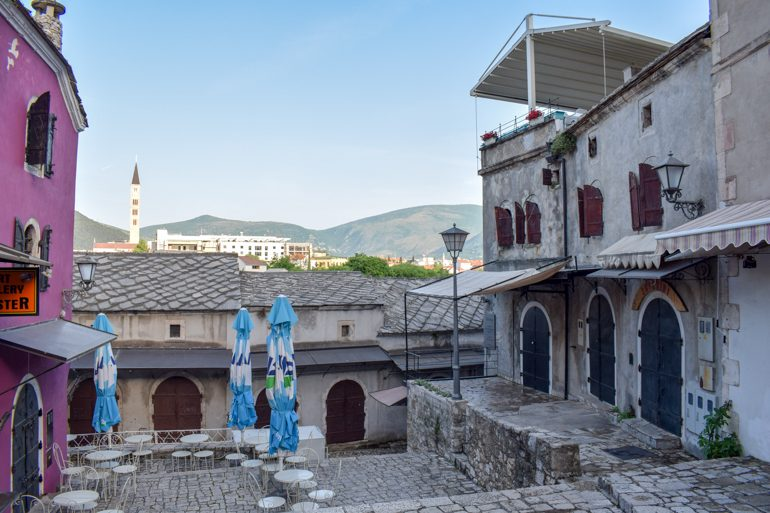 old markets with cobblestone path in mostar bosnia and herzegovina travel