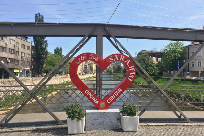 red heart statue on bridge in sarajevo bosnia and herzegovina travel