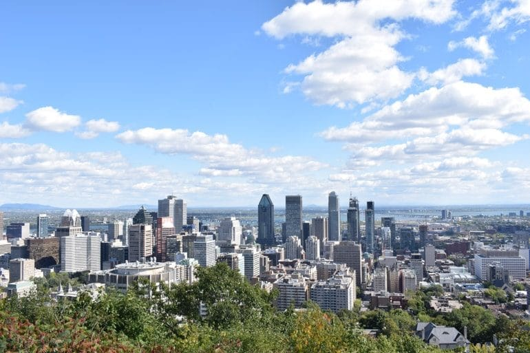 downtown montreal buildings from mount royal with green trees and blue sky canada sightseeing