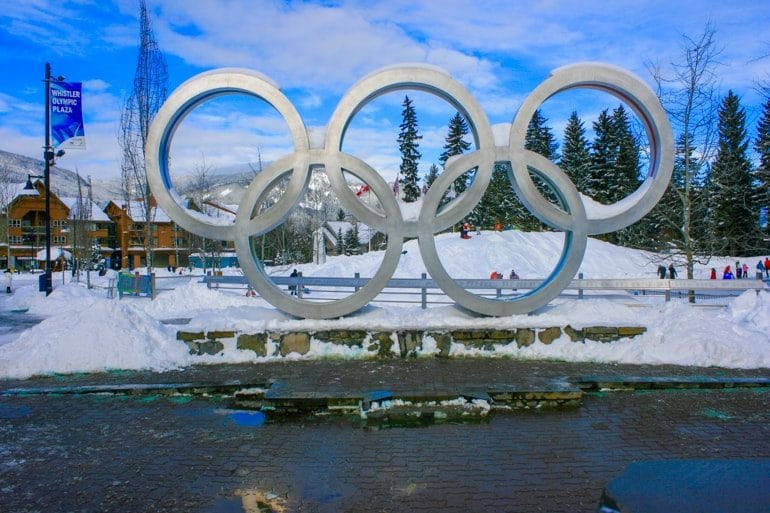 olympic rings with snow in village whistler canada sightseeing
