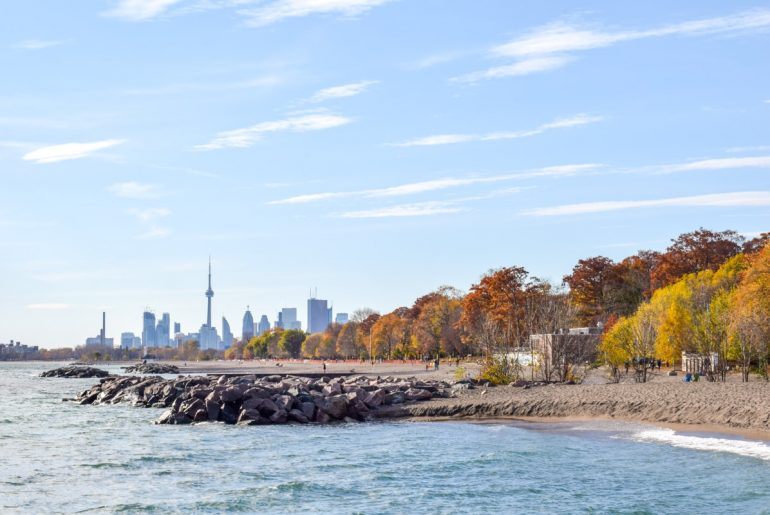 fall leaves and lake ontario shoreline travelling to canada for the first time