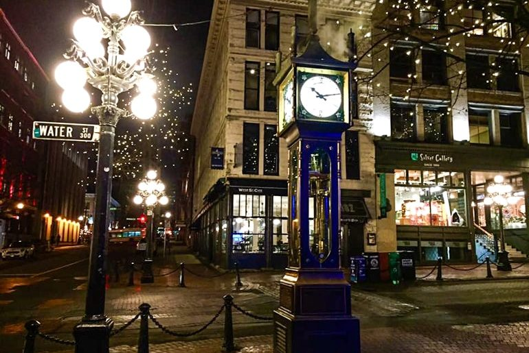 old steam clock in gastown at night best places to stay in vancouver