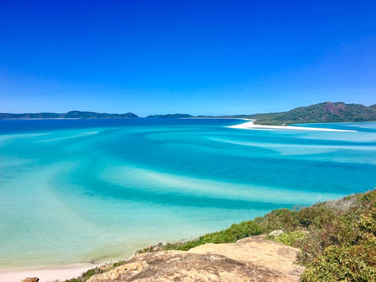Blue water and blue sky Whitehaven Beach Whitsunday Island Australia