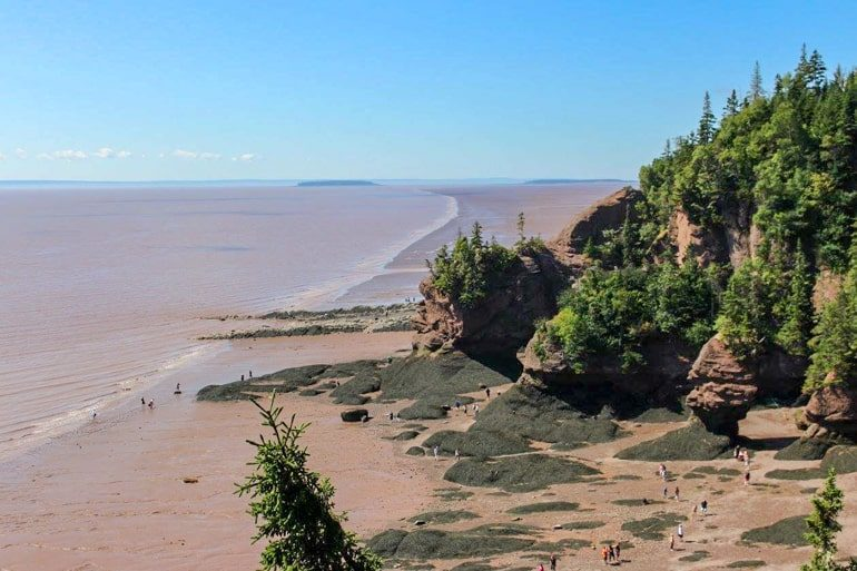 red cliffs with ocean and trees best time of year to visit canada