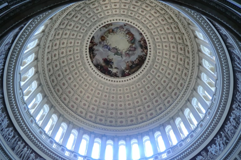 inside detailed dome of capitol building places to visit in washington dc