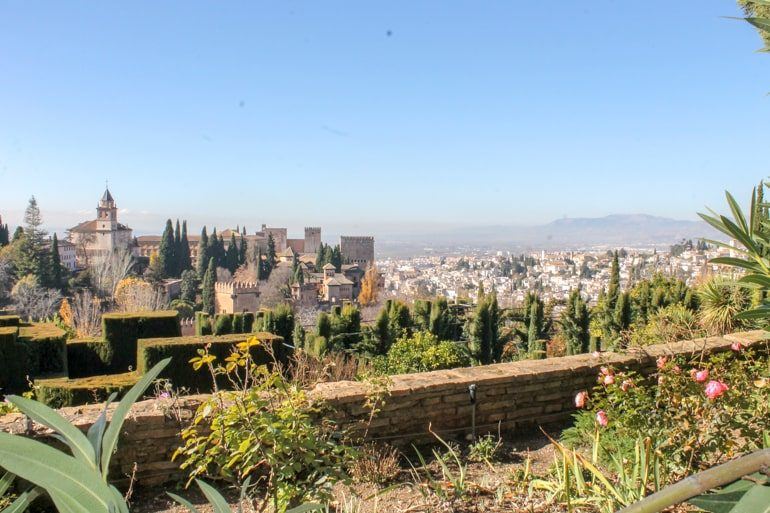 view from city wall of old fortress in granada spain itinerary
