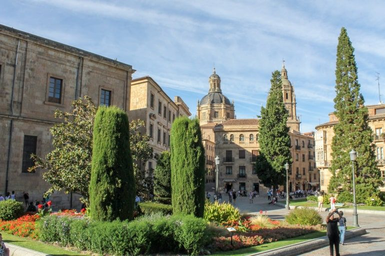 green trees in old spanish square salamanca spain itinerary