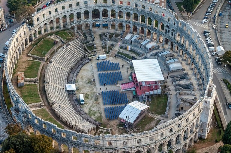 roman amphitheatre from above top things to do in croatia