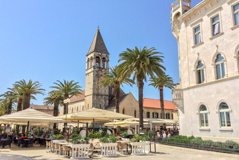 church tower with cafe seating trogir top things to do in croatia